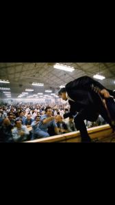 "Johnny Cash shakes Glen Sherley's hand before performing Sherley's ""Greystone Chapel"""